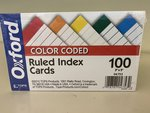 AMPAD COLOR CODED INDEX CARDS (100CT) OXFORD